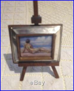 Brunet Miniature Enamelled Sterling Silver French Framed Nude Signed 1913