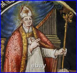 C1600 Limoges Enamel St Augustine Portrait Plaque A/f