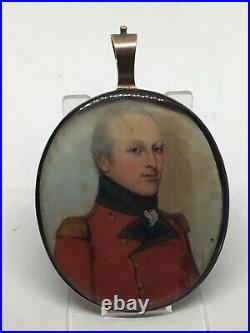 C1810 Napoleonic military Officer Portrait Miniature Painting GoldFrame Enamel