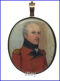 C1810 Napoleonic military Officer Portrait Miniature Painting Gold Frame Enamel