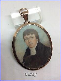 C1820 Georgian 9k Gold Frame Enamel Hair Back Portrait Miniature Painting Clergy