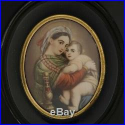 C1890 Miniature Painting on Ivory Mary and Jesus Madonna and Child Enamel Frame