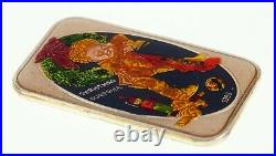 CHRISTMAS SURPRISE 1985 with Enamel Paint By The Mint 1 oz. Silver Art Bar