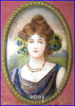 Ca 1880 French Gilt Enamel Bronze Plaque Beautiful Woman