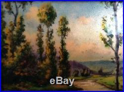 Camille FAURE Antique LIMOGES Enamel Art Déco Plaque Impressionist Landscape
