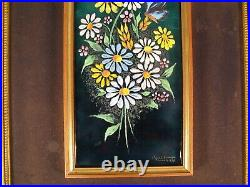 Camille Fauré Daisies Butterfly Large Enamel Art Limoges France Printing Limited