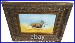 Carol Simkin Enamel Copper Indian Buffalo Hunt Impressionist Landscape Painting