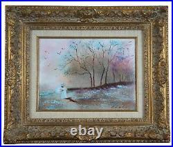 Carol Simkin Enamel on Copper Impressionist Forest Landscape Painting With Figure