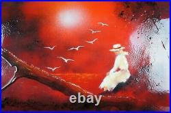 Carol Simkin Enamel on Copper Red Landscape Seascape Ocean Figural Portrait 25