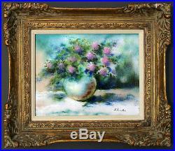 Carol Simkin Listed Artist Enamel On Copper Floral Flowers Still Life Painting