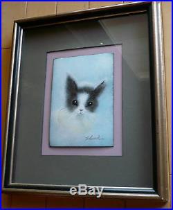 Carol Simkin, Listed, Collectible Enamel Copper Painting, Cat Kitty Folk Modern
