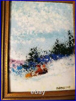Charles Edward Parthesius 4 x 3 Enamel on Copper Signed Impressionist