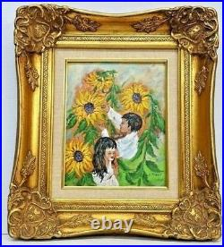 Charles H Penny Enamel on Copper Painting'In the Garden' Framed With C of A
