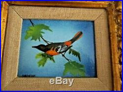Charles Parthesius (1921-1997) Enamel On Copper Baltimore Oriole On Branch Ex