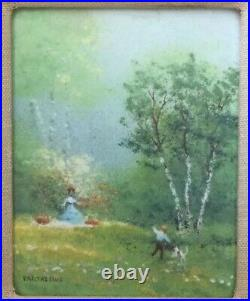Charles Parthesius Impressionist Painting Enamel On Copper Original French