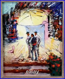 Colorful Vintage Pascal Pat Cucaro Enamel On Copper Painting California Artist