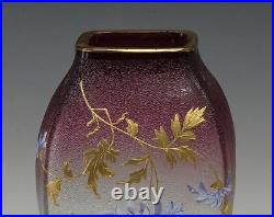 Continenal Art Glass Vase c1900 cranberry to clear hand painted enamel