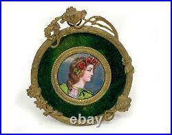 Continental Gilt Bronze Framed Enamel Portrait Miniature of Lady c. 1900