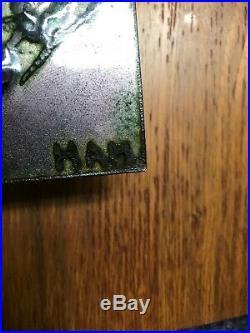 Copper Enamel Modernist Abstract Teak Wall Plaques 7Vintage MidCentury Modern