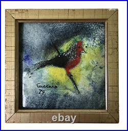 Cuccaro Signed Enamel. On Copper Art Painting Cardinal Bird Design 1974