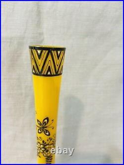 Czech Bohemian Glass hand painted enamel Art Deco bud vase