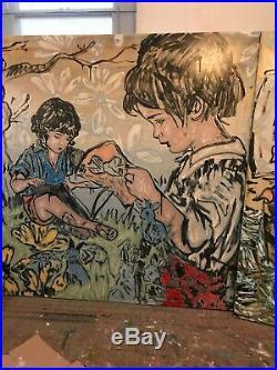 DAVID BROMLEY'Story Time' (198 x 198) acrylic & enamel on canvas (RRP $28k)