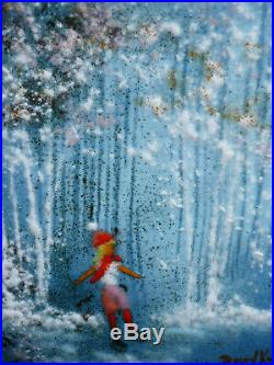DAVID KARP, LISTED Rare VINTAGE SIGNED ENAMEL ON COPPER WINTER ICE SKATING 6x8