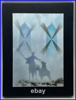DOMINGO BLOCK Signed Enamel on Copper Don Quixote Framed