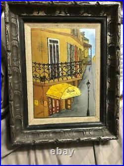 Daniel Belliard Sigal Enamel on Copper Pair French Quarter Framed, Signed