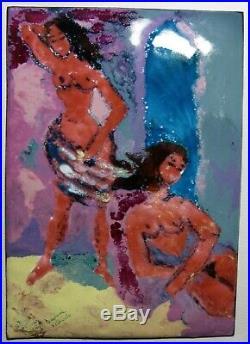 Daphne Keskinis Modern Art Enamel Copper Painting Plaque Impression Nude Surfers