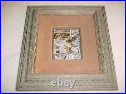 Daphne Keskinis Modern Enamel Copper Art Painting Plaque Western Arizona Cowboy
