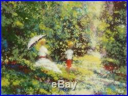 David Karp Woman w Umbrella Child Garden Scene Enamel on Copper Painting Picture