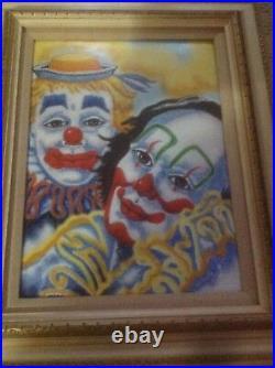 Dom Mingolla Clown Enamel Copper Painting Rare Frame SIGNED Old Vintage Art Gift