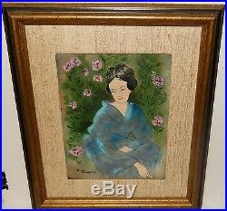 Dorothy Binowitz Chinese Girl And Roses Enamel Painting On Copper