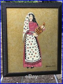 ELIZABETH NASHALIAN Original ENAMEL MODERN MIXED MEDIA Armenian Girl with Vase