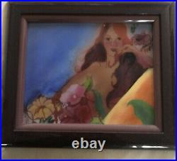ENAMEL on COPPER PAINTING NUDE LADY WITH FLOWERS BY ANN KOERNER Ca. 1970