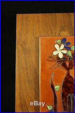 Edith Meyer Enamel Copper Cloisonne Style Art CAT Wood Frame Signed