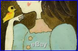 Edith Meyer Enamel Copper Cloisonne Style Art Summer Girl Wood Frame Signed