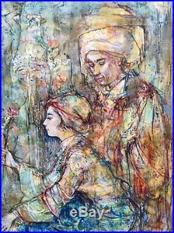 Edna Hibel, Original Oil Enamel, Moroccan Couple, NO RESERVE