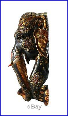 Elephant Statue Fine Engraved Painted Enamel Design Figure Vintage Handmade Art