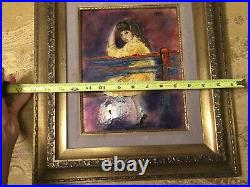 Ellamarie & Jackson Woolley ENAMEL COPPER ART PAINTING PLAQUE MID CENTURY Girl