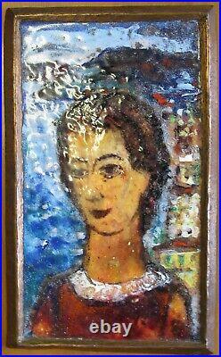 Emaille Bild Karl Dörrfuß (1906 -1984 Fürth)Email enamel painting 60er Jahre