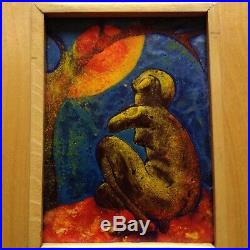 Enamel Cloisonne Painting Nude Lady Naked Red Blue Tree Sun Plaque Medal Copper