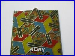 Enamel On Copper Metal Painting Abstract Modernist Cubism Pop Op Expressionism
