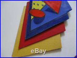 Enamel On Copper Metal Painting Abstract Modernist Cubism Popl Expressionism