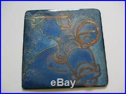 Enamel On Copper Metal Painting Abstract Modernist Industrial Expressionism