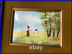 Enamel On Copper Painting- Child And Mother Signed Carmel Vintage MCM