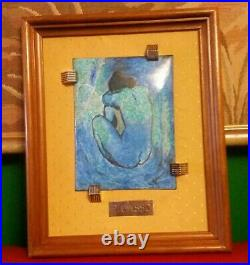 Enamel On Copper Vintage Pablo Picasso Painting Silver Hallmarked Framed C1950