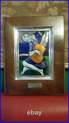 Enamel On Copper Vintage Pablo Picasso The Old Guitarist Painting Framed C1950