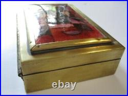 Enamel Painting 1950's Signed Cubism Box Sculpture Copper Brass Box Abstract